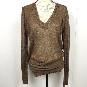 Tory Burch Linen Blend Metallic Sweater L